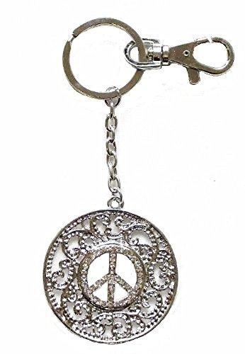 Argento cristallo diamante pace segno Ciondolo portachiavi portachiavi borsetta regalo di compleanno gioielli
