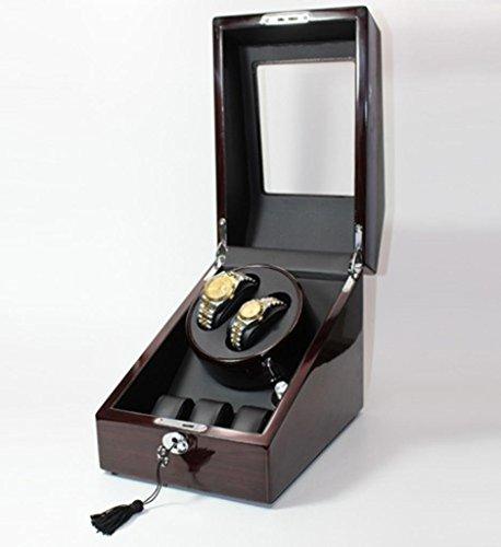 Uhr Motoren (MNII Hochwertige Massivholz Klavier Uhr Winder Schütteln Watch Box Mechanische Uhr Box Automatik Uhr Motor Box - Handmade Mirror Poliert - 4 Timed Programme- Zubehör ansehen)
