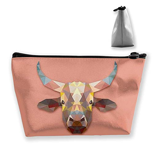 Geometric Cow Women Cosmetic Bags Portable Pouch Trapezoidal Storage Bag Travel Bag with Zipper