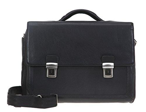 DERMATA Aktentasche Leder EXECUTIVE Ledertasche Laptoptasche 2825NYL + Mäppchen SCHWARZ (Aktenkoffer Attache Executive)