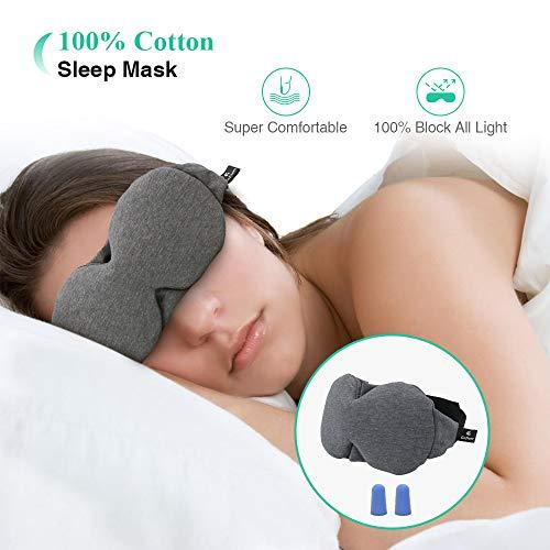 Schlafmaske Damen und Herren, Gozheec Augenmaske für Reisen Weich und Bequem, Baumwolle Schlafbrille zum Schlafen mit Verstellbarem Gurt Ohrstöpsel -
