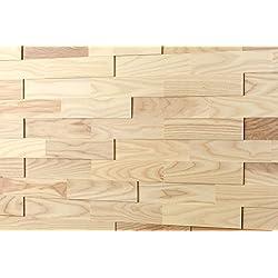 Wodewa Fresno - Madera auténtica para paneles de pared madera, revestimiento de paredes interiores (apariencia 3D, 200 x 50 cm)