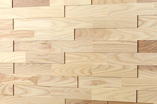 wodewa Rivestimento Murale Legno di Frassino I 1m² Pannelli Murali Rivestimento Parete Legno Decorazioni Pareti 3D Pannello Decorativo Cucina Cameretta
