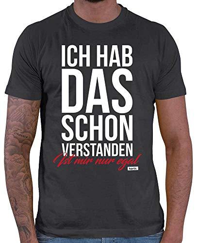 HARIZ  Herren T-Shirt Ich Hab Das Schon Verstanden Ist Mir Nur Egal Statement Spruch Plus Geschenkkarten Dunkel Grau XL