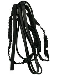 Set of 6 Black Assorted Style Stretch Headband Hair Elastics Forehead Bands