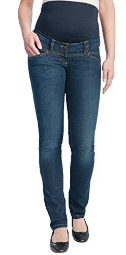 Christoff Schwangerschaftsjeans Umstandshose Jeanshose - Straight Leg - Elastisches Bauchband - tiefer Bund - 31/88/8 - blau - 46 / L32