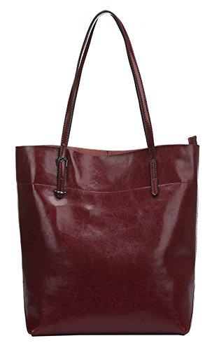SAIERLONG Damen Lässig Braun Echtes Leder Umhängetasche Handtasche Rotwein