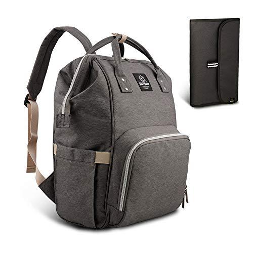 HEYI bolso cambiador multifuncional mochila de pañales bebe, bolso maternal mochila impermeable, mochila del viaje de la mamá de grande capacidad (Gris)
