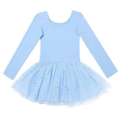 Vier Kostüme Mädchen (Freebily Kinder Ballettanzug Langarm Trikot Tanzbody mit Röckchen Mädchen Ballett Kleider Tanzkleid Ballettoutfit Kostüm 98-158 Himmelblau 104/4)