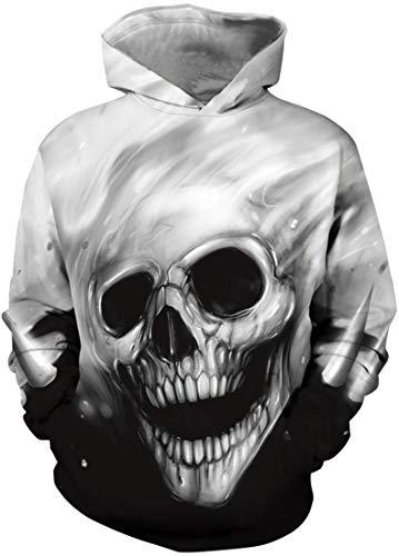 EUDOLAH Jungen Sweatshirts für 4-13 Alter Kinder Langarm 3D Druck Mehrfarbig Bunt Kids Herbst Winter Hemd mit Kaputzen A-A-lachender Schädel XS Schädel-sweatshirt