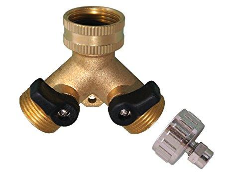 AS2-Y2H/M. Y-Verteiler mit Absperrhähnen für zwei Zulaufschläuche zum Anschluss von 2 Geräten SbS Kühlschrank und Spül- Waschmaschine. 2-Wege Ventile 3/4