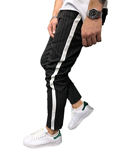 Missoul Mens Casual Joggers Trousers Slim Fits Breathable Sport Tracksuit Cotton Tapered Pants (Black-a)