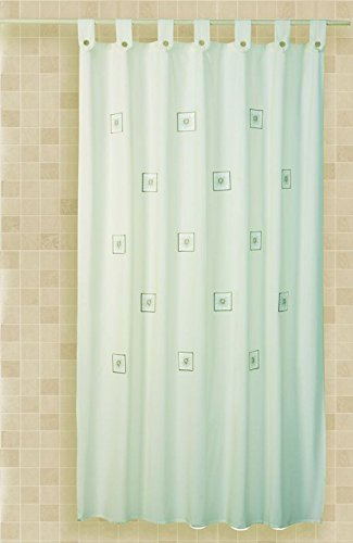 Cortina baño bordada trabillas Cloe 35%algodón 65%poliéster