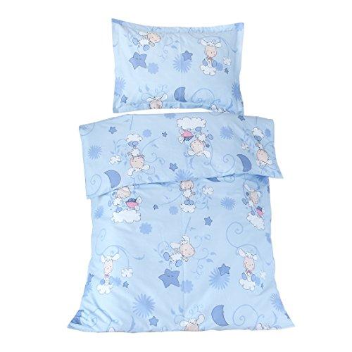 Die Lämmer blau–SoulBedroom Bettwäsche für Baby (Bettbezug 100x 140cm und Kissenbezug–100% Baumwolle) (Euro)