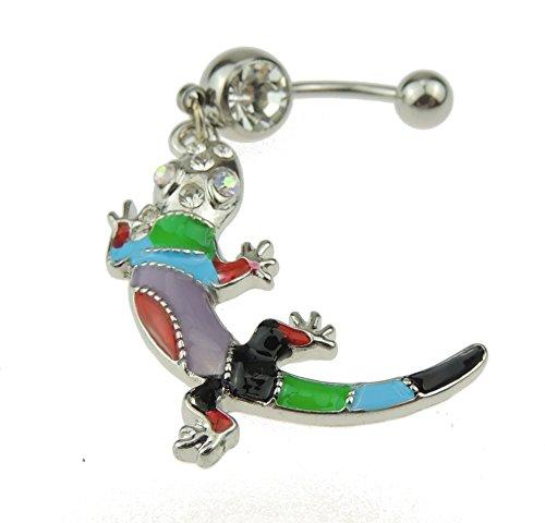 Para mujer quirúrgico 316L anillo de acero con una tira de brillantes multicolor para tener la Oreja Piercing para la barriga de Lagarto Gecko