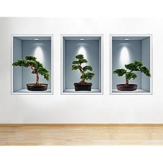 R814 Bonsai Tree Nature Living Hall Window Wall Decal 3D Art Stickers Vinyl RoomKids Bedroom Baby Nursery Cool Livingroom Hall Boys Girls