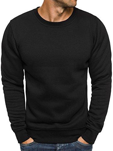 OZONEE Herren Sweatshirt Langarmshirt Pullover Warm Basic J. STYLE 2001-10 M SCHWARZ (Super Sweat Sweatshirt Crewneck)