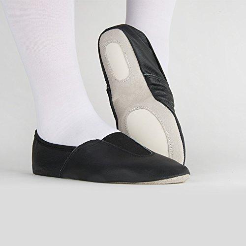 Rumpf Gymnastikschuh Chromledersohle Gummieinsätze Ballettschläppchen schwarz 39