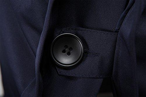 Herren Doppel-breasted Slim Fit Baumwoll Langjacke Mantel Trenchcoat mit Gürtel Marineblau