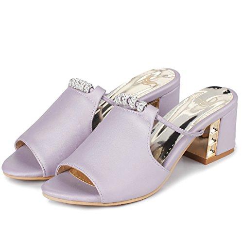AIYOUMEI Damen Peep Toe Blockabsatz Pantoletten mit 6cm Absatz und Strass  Bequem Modern Sandalen Lila ...