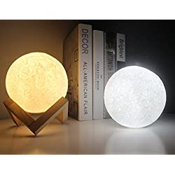 3D lampada luna 13cm, Shome Piena Lampada Moon Luna Ricarica USB Decorativo Tavolo LED Luce Notturna per Bambini Toccare il Controllo Luminosità Regolabile