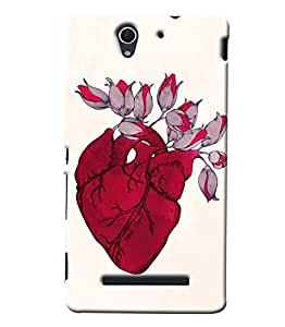 Blue Throat Heart With Flower Blooming Printed Designer Back Cover/Case For Sony Xperia C3