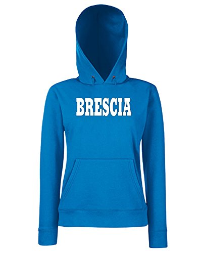 T-Shirtshock - Sweats a capuche Femme WC0985 BRESCIA ITALIA CITTA STEMMA LOGO Bleu Royal