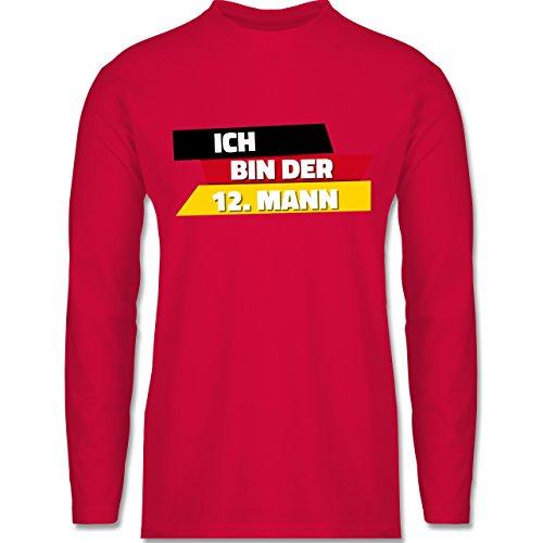 Shirtracer Fußball-WM 2018 - Russland - Ich Bin der 12. Mann Deutschland - Herren Langarmshirt Rot
