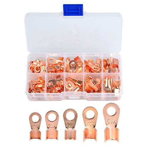 QLOUNI 70 Stück Ring Kabelschuh Set Ring-Terminals aus kupfer nicht isolierte Terminal Steckverbinder Sortiment OT 10 A 20 A 30 A 40 A 50 A -