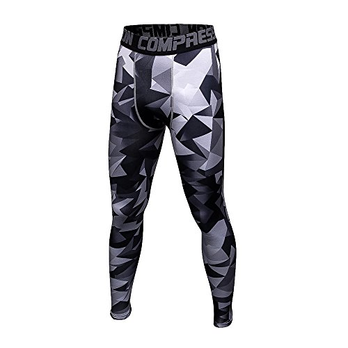 1Bests Men's Camouflage Compression Pants Gym Workout Quick-Drying Breathable Running Tights Leggings (Triangle, M)