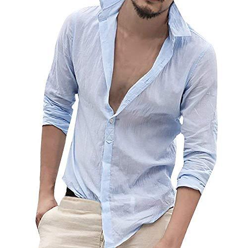 Camicia da uomo con scollo a v manica lunga taglie comode autunno moda casual camicia regular fit top tops camicette 7 colori abiti (color : himmelblau, size : 2xl)