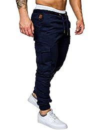 5ccc032ae3a1 Minetom Pantaloni Uomo Moda Cargo con Coulisse E Tasche Laterali Trousers  Sport Pants Elastici Casuale Maschi