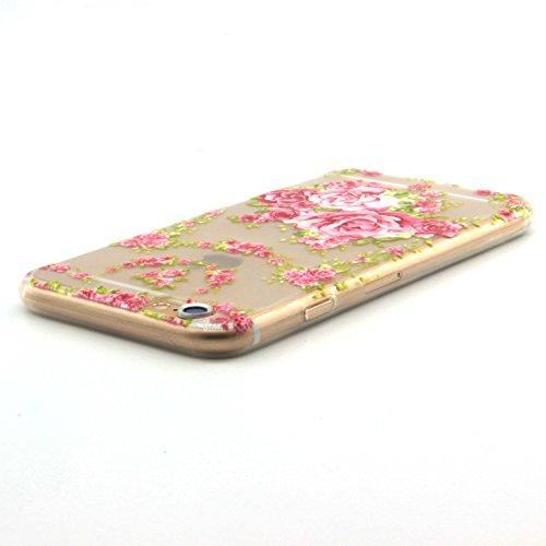 Pour iPhone 5 5S 5G / iPhone SE Coque,Ecoway Housse étui en TPU Silicone Shell Housse Coque étui Case Cover Cuir Etui Housse de Protection Coque Étui –Fleurs roses Rose