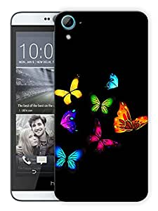 """Humor Gang Multi Color Butterflies Printed Designer Mobile Back Cover For """"HTC DESIRE 826"""" By Humor Gang (3D, Matte Finish, Premium Quality, Protective Snap On Slim Hard Phone Case, Multi Color)"""
