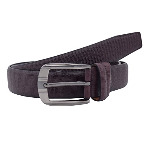 Snoby Brown Leatherette For Men Rough Pattern Curve Edge Buckle Belt