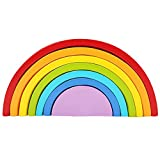 Wooden 7 Colour Stacking Rainbow Shape Kids Childrens Educational Toy Set