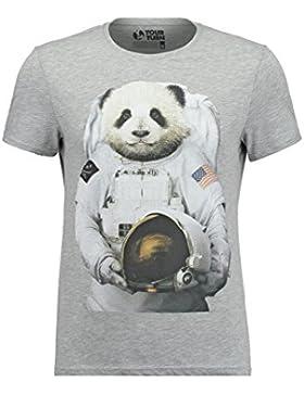 YOURTURN T-Shirt Herren Weiß o. Grau, gemustert – Printshirt mit lustigem Tiermotiv – Kurzarmshirt mit Aufdruck...