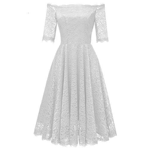 ZLDDE Damen Kleider Elegant Spitzenkleid 3/4 Ärmel Knielang Rockabilly (Grecian Kleid Plus Größe)