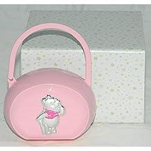 Porta succhietto / ciuccio rosa con Winnie the Pooh in argento