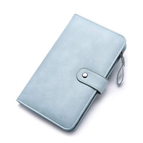Vnlig Portamonete personalità Creativa New Pu Leather Contrast Portafoglio a Due Colori Portafoglio Lungo Femminile Portafoglio (Color : Blue)