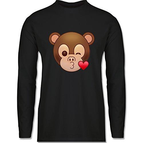 Comic Shirts - Küsschen Äffchen Emoji - Longsleeve / langärmeliges T-Shirt für Herren Schwarz