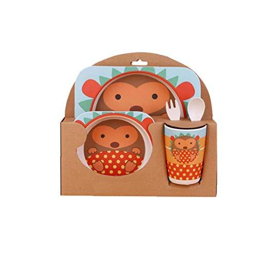 LAANCOO 5 Pc-niedliches Cartoon-Tier Thema Kinder Geschirr Sets Umweltfreundlich Kinder Cups Kinder Teller 4 Kids Teller Bowl Kindergeschirr Kleinkind