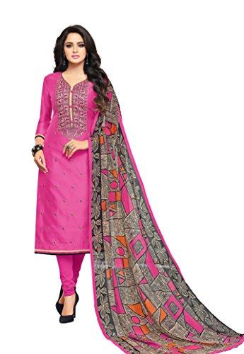 Oomph! Women\'s Unstitched Cotton blend Salwar Suit Dupatta Material - Hot Pink