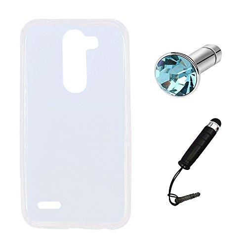 Lusee® Silikon TPU Hülle für LG X Mach/Fast / LG K600Y 5.5 Zoll Schutzhülle Case Cover Protektiv Silicone halb transparent weiß