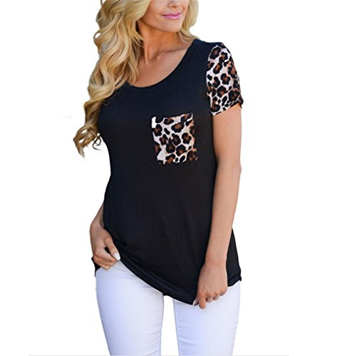 PU&PU Frauen Casual / Daily Fashion T-Shirt Rundhals Kurzarm Leopard  Pathchwork Top Black
