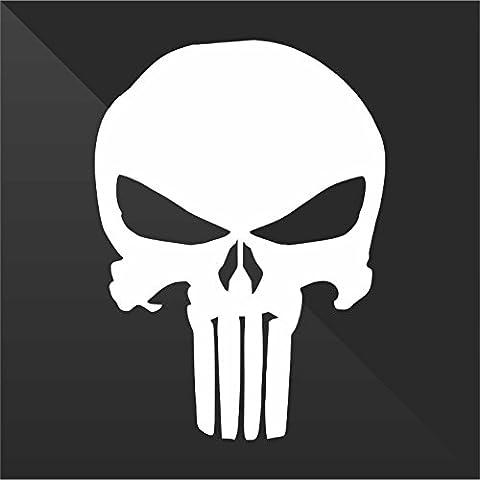 Sticker Prespaziato Pre-Spaced Punisher Teschio Skull Crâne Cráneo Schädel - Decal Auto Moto Casco Wall Camper Bike Adesivo Adhesive Autocollant Pegatina Aufkleber - cm 10