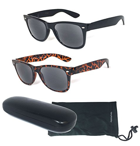 2 Pair Combo Retro Wayfarer Full Reading Sunglasses - Outdoor Reading Sunglasses NOT Bifocals - 1 Hard Case & 1 Soft Pouch Included (+1.50) by VeryHobby Combo Hard Case