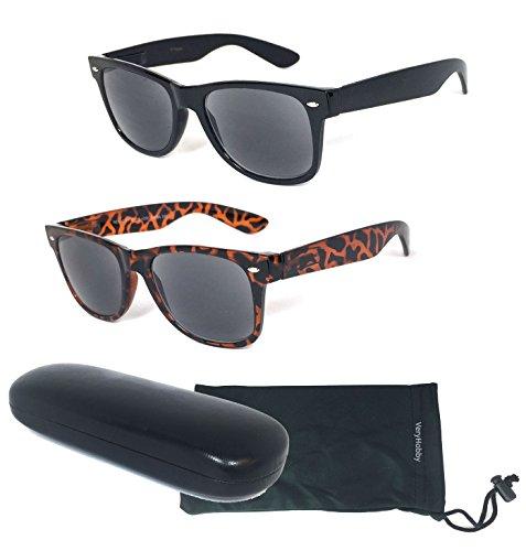 VeryHobby 2 Paar Combo Retro Voll Objektiv Lese Sonnenbrille - Außenlese Sonnenbrille Nicht Bifocals - 1 Hard Case & 1 Soft-Tasche inklusive (+) 2.75