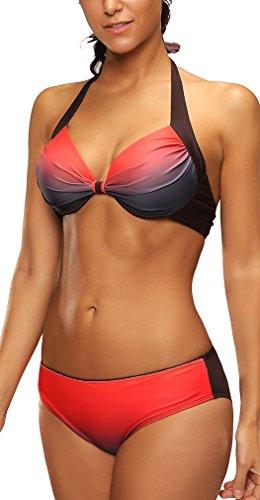 Bettydom Donna Due pezzi costume da bagno Bikini Set gradiente di colore tre colori opzionali Arancione