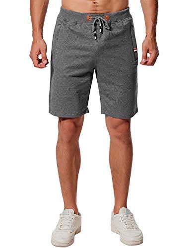 Chyu Herren Beiläufig Shorts Baumwolle Sport Jogger Classic Fit Sommershorts, elastische Taille Reißverschlusstaschen (Grau, XL) -